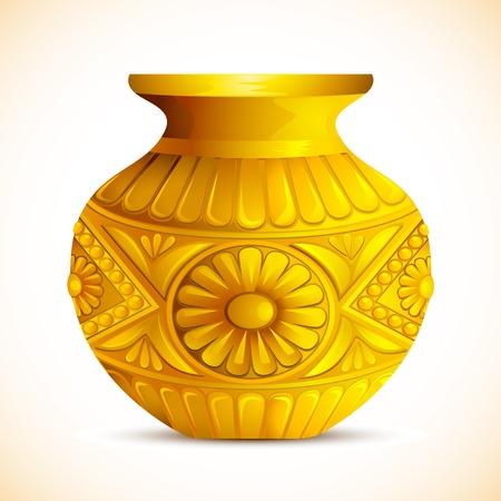 ghatashtapana: illustration of golden mangal kalash for hindu festival