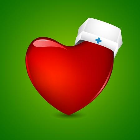 nurse cap: illustration of nurse cap on heart on abstract background Illustration