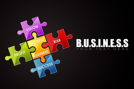 illustration of business background with jigsaw puzzle Vector