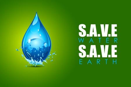 ahorrar agua: ilustraci�n de la tierra en la gota de agua que muestra el ahorro de agua ahorro de concepto de la tierra Vectores