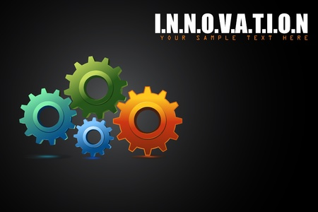 toothed: illustration of colorful cogwheel in innovation concept background