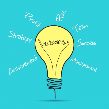 filament: illustration of business bulb with business related word