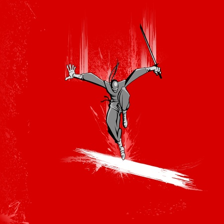 karate fighter: illustration of ninja fighter attacking with sword on grungy background