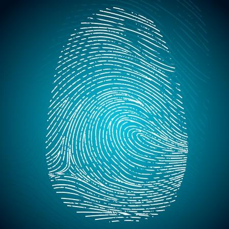 derecho penal: ejemplo de impresión de la huella digital en fondo abstracto