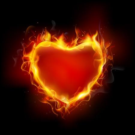 infierno: ilustración de la llama ardiente alrededor del corazón sobre un fondo oscuro Vectores