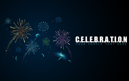 illustration of colorful firework in sky on celebration background Vector