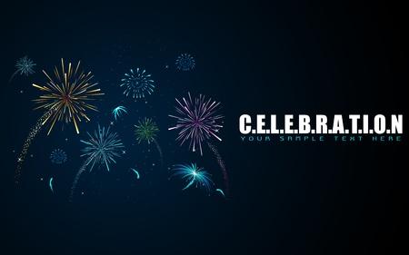 illustration of colorful firework in sky on celebration background Vector