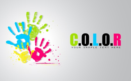 empreintes digitales: illustration de couleurs color�es montrant la main de la vie