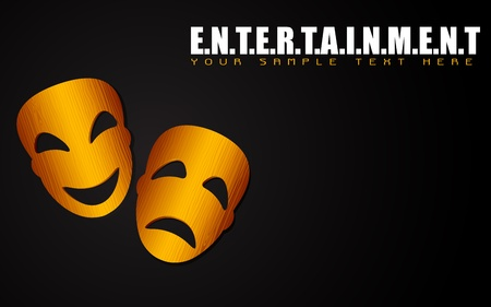 comedy disguise: illustration of happy and sad mask on entertainment background