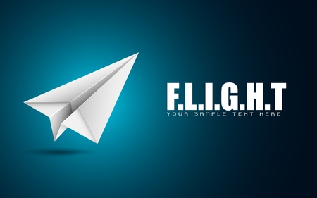 toy plane: illustration of paper folded airplane on motivational flight background Illustration