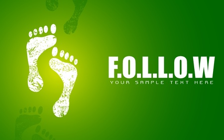 green footprint: illustration of pair of footprint on motivational follow background
