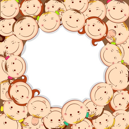 illustration of group of kid looking upward with copyspace Vector