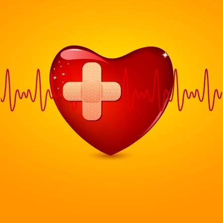 lifeline: illustration of bandage on wounded heart with lifeline Illustration