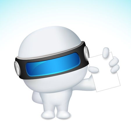scalable: illustration of 3d business man in fully scalable vector  showing blank display card
