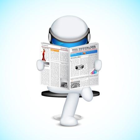 schaalbaar: illustratie van 3d man in volledig schaalbare vector lezen van krant Stock Illustratie