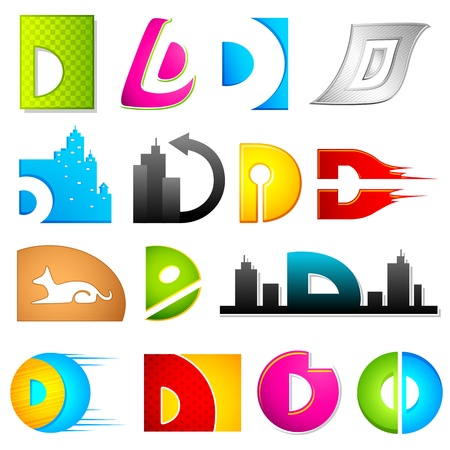 d: illustration of set of different colorful icon for alphabet D