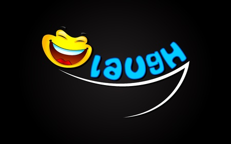 illustration of laughing expression with smiley Vector