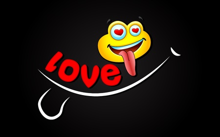 illustration of love expression with smiley on abstract background Vector