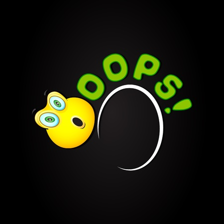 illustration of oops background with shocked smiley Vector