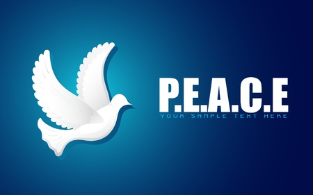 peaceful: illustration of flying dove on peace background