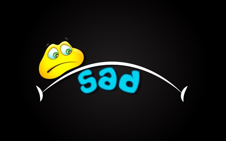 illustration of sad expression with smiley on abstract background