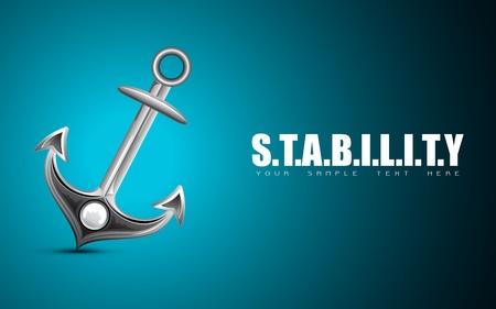 ancre marine: illustration de l'ancre sur fond de stabilité de motivation