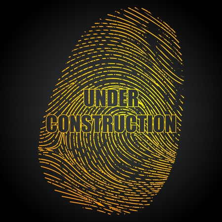 forensic science: illustration of under construction impression of finger print on abstract background
