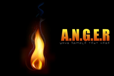 blast: illustration of glowing fire flame on conceptual anger background