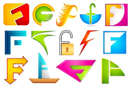 letter f: illustration of set of different colorful icon for alphabet F Stock Photo