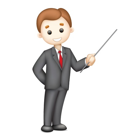 male teacher: illustration of 3d business man in vector giving presentation