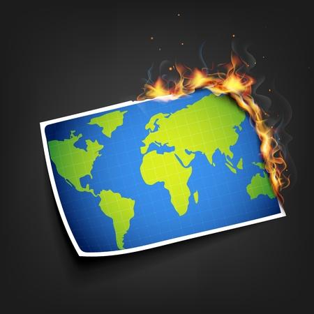 illustration of burning photo of earth showing glabal warming illustration