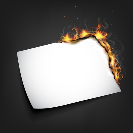 inferno: illustration of burning piece of paper with copy space