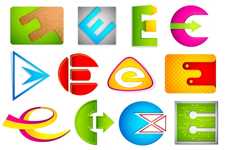 illustration of set of different colorful icon for alphabet E Vector