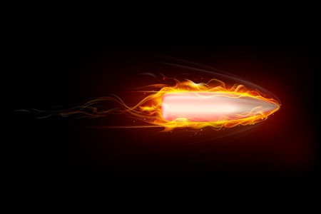 illustration of moving fiery gun bullet shot