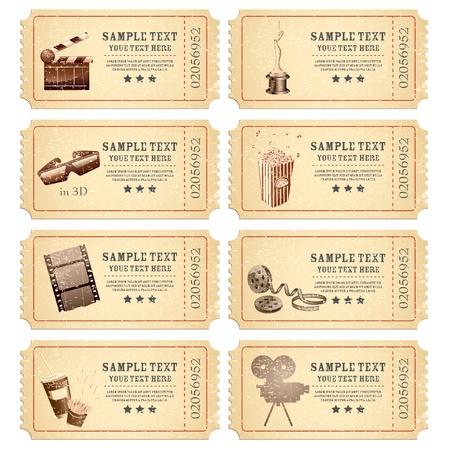 кинематография: Иллюстрация набор винтажных билет в кино с различными фильм связанного объекта Иллюстрация