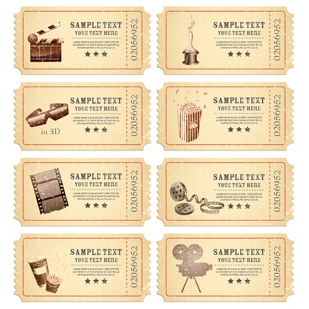 movie clapper: illustration of set of vintage movie ticket with different film related object Illustration