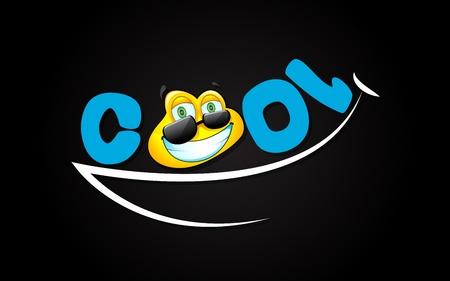 koel: illustratie van lachen meningsuiting met coole smiley Stock Illustratie