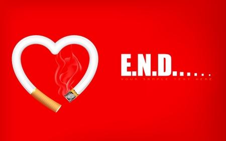 burning heart: illustration of burning heart shape cigarette showing end of life