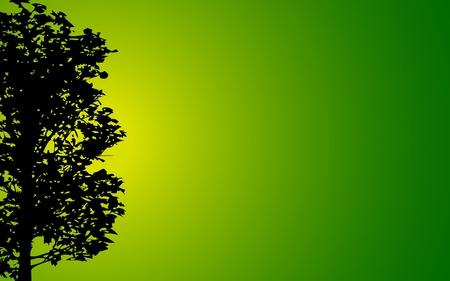 hoog gras: illustratie van het silhouet van de boom op de helling achtergrond