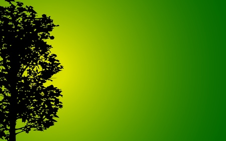 tall grass: illustration of silhouette of tree on gradient background
