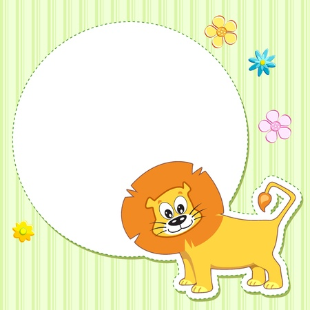 illustration of lion on baby card with copy space for message Vector