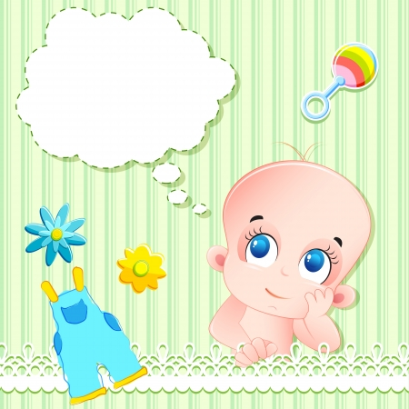 illustration of baby arrival card with baby and toys Vector