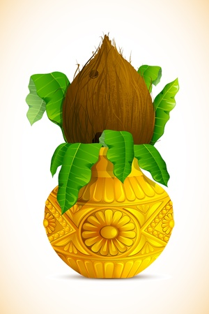 clay pot: illustration of coconut in golden mangal kalash for hindu festival