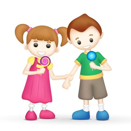 piruleta: ilustración de los niños que sostienen piruleta de caramelo en el fondo blanco