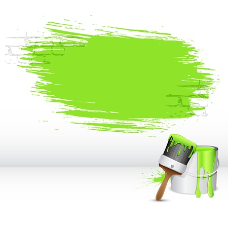 illustration of paint bucket with paint brush and paint stroke Vector