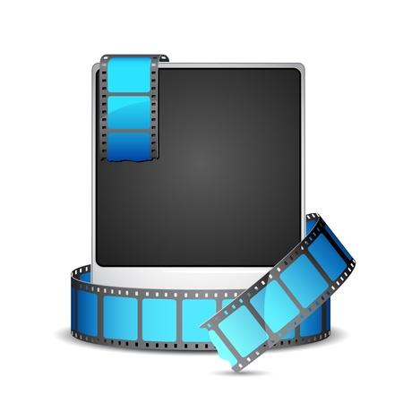 illustrazione della striscia pellicola intorno alla cornice fotografica istantanea