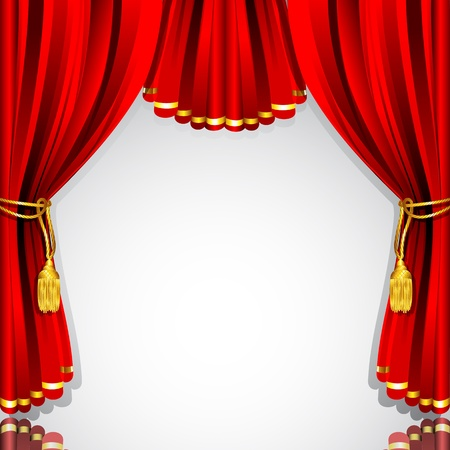 theater audience: illustration of red stage curtain drape on white background Illustration