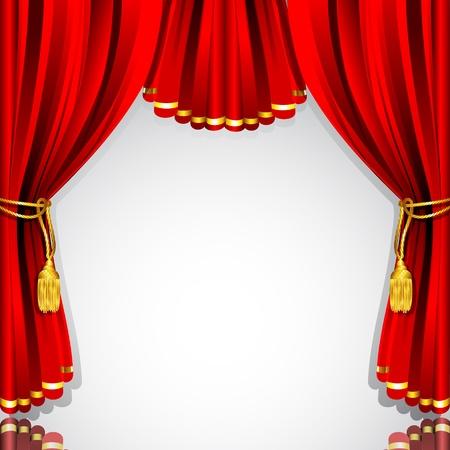 telon de teatro: ilustraci�n de la cortina de color rojo tel�n de fondo blanco