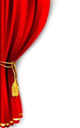 illustratie van rode gordijn draperen vastgebonden met touw Stock Illustratie