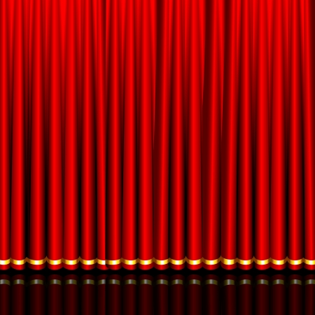 red curtain: illustration of glossy silk red curtain in stage
